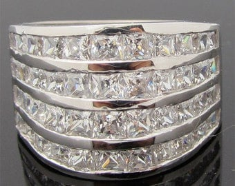 ITEM R01105 14K Yellow or White Gold 3ct tw Prncess Four Row Channel Set Band Ring