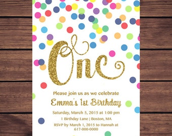 Rainbow Gold 1st Birthday Invitation Girl, Any Age Rainbow Dots and Gold Girl First Confetti Birthday Invitation, Polka Dot Printable 852