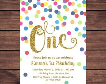 Rainbow Gold 1st Birthday Invitation Girl, Any Age Rainbow Dots and Gold Girl First Confetti Birthday Invitation, Polka Dot Printable JPEG P