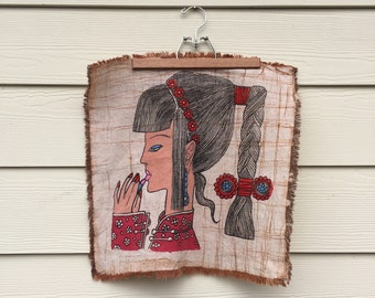 Folk Art Linen Square Wall Hanging Women w/ Lipstick