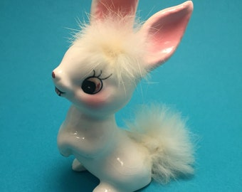 The Sweetest White Bunny Rabbit Figurine / Made in Japan / Fuzzy Tail / SO CUTE!