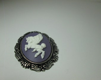 White Pegasus  on Purple background Cameo Brooch/ Item A382
