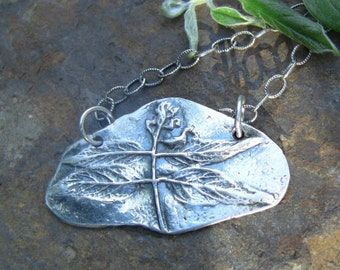 """Wisteria """"Dragonfly"""" Fine Silver Necklace, Botannical Necklace, Made from Real Wisteria Leaves"""