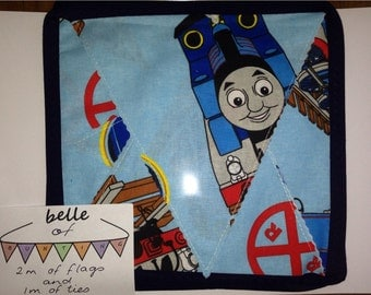 Handmade Fabric Bunting Flags - Thomas The Tank Engine: 2m Of Flags