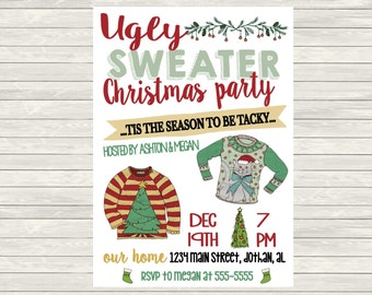 Ugly Sweater Invitation, Ugly Sweater Christmas Party Invitation, Christmas Party Invitation Tacky Christmas Invitation, Ugly Sweater Party