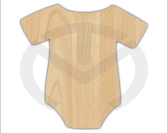 Unfinished Wood Plain Onesie Laser Cutout, Wreath Accent, Door Hanger, Ready to Paint & Personalize, Various Sizes