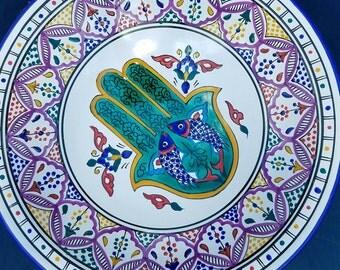 Hand Painted Khamsa  Lead Free Xtra Large Bowl