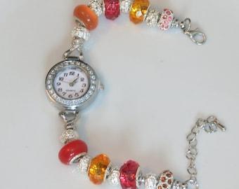 Watch - European beads - Orange colors