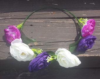 Flower Crown Headband Purple Floral Halo Indigo Flower Head Wreath Hippie Flower Headband