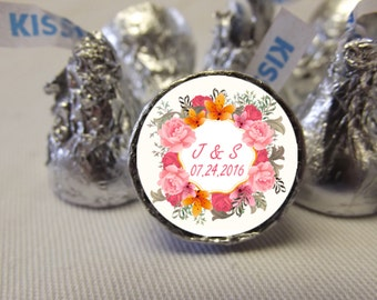 Wedding Thank You Stickers, Personalized Wedding Stickers, Wedding Hershey Kiss Labels, 108 Wedding Candy Stickers