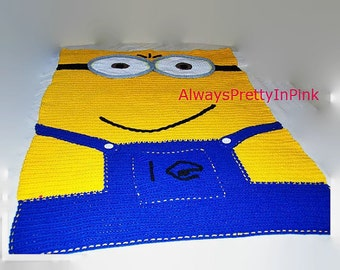 Bedroom Decor, Bed Cover, Minions, Kids Blankets, Single Bed Blanket, Gifts for Kids, Room Decor, Blankets, Throws, Crochet Blanket