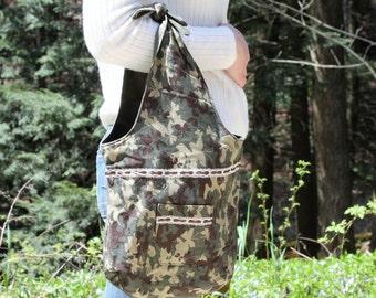 Handbag, Reversible, cloth purse, olive green tote, camouflage tote, camo bag