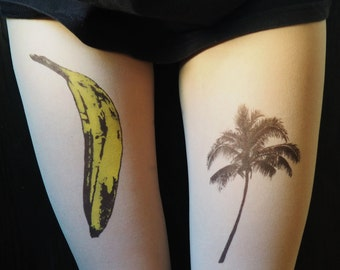 Happy tights, banana, palm, banana tattoo, palm tattoo, tights