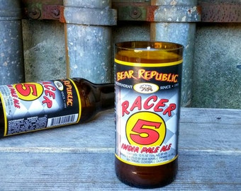 Craft Beer Decor Scented Candle From Recycled California Bear Republic Racer 5 Glass Bottle