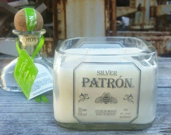 Recycled Patron Tequila Blown Glass Liquor Bottle Scented Candle