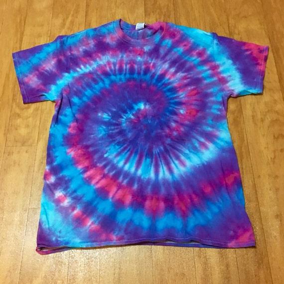Vibrant tie dye shirt blue purple pink tie by beachbumtiedye for Custom t shirts tie dye