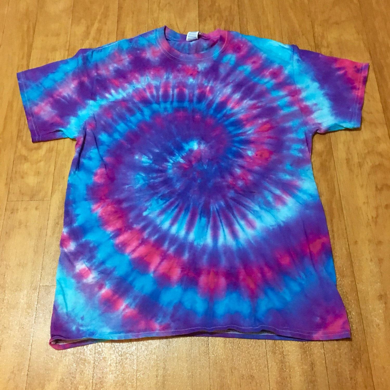 Vibrant tie dye shirt blue purple pink tie by beachbumtiedye for Custom tie dye t shirts