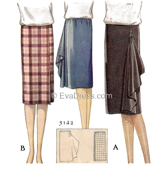 1920s Patterns – Vintage, Reproduction Sewing Patterns 1927 Wrap Skirt Pattern by EvaDress $27.00 AT vintagedancer.com