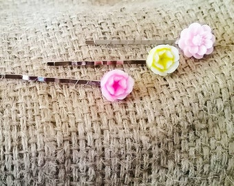 3pc Floral Bobby Pin Set