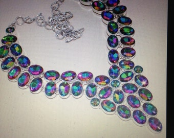 Beautiful Hancrafted Mystic Topaz Sterling Silver Necklace