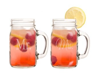 Mr. and Mrs. Country Drinking Jar Drinking Glass Set for Rustic Weddings Toasting Glasses