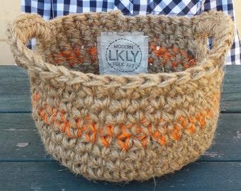 Tangerine Small Basket, Natural Jute Basket, Easter Basket, Storage Basket, Gift Basket