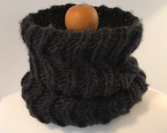 Hand Knit Gypsy Chunky Cable Cowl Neckwarmer in Flint Charcoal Black