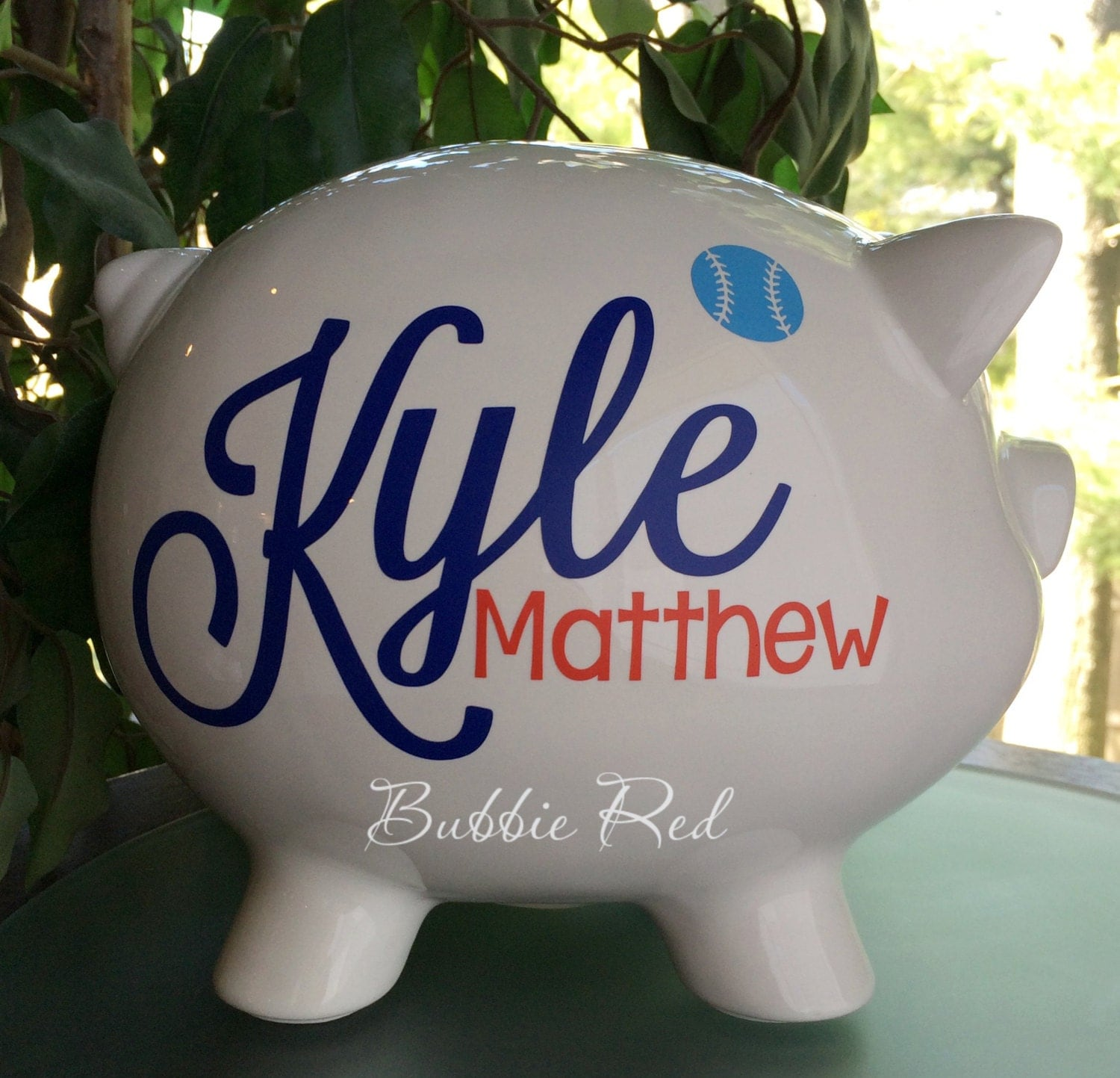 Personalized piggy bank baby boy piggy bank baby birth stats - Coin banks for boys ...