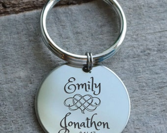 Intertwined Hearts Personalized Key Chain - Engraved