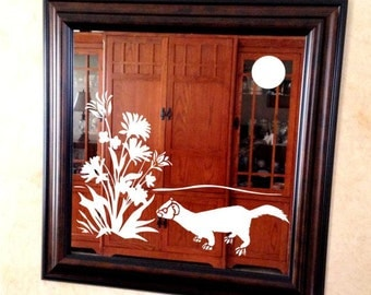 Ferret Mirror with Flowers - Etched