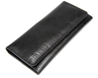 Handmade in USA! Big Nature Wallet in Black, Italian Calf Leather with Premium Craftsmanship!