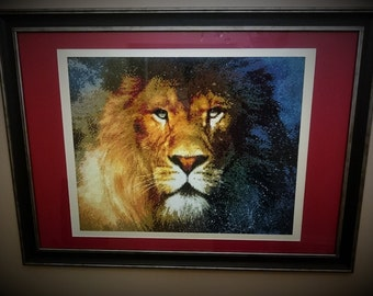 """Handmade picture Diamond embroidery """" Lion """", embroidery or mosaic. Diamond mosaic. Decorate interior home office. Wall decor."""