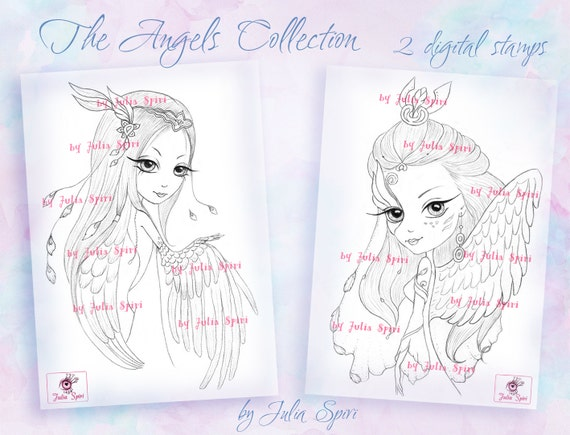 Digital stamps, Angel, Fantasy, Angels, Mask, Wings, Big Eyes, Coloring, Paper crafting, Cardmaking. Ofelia, Angelique. The Angel Collection