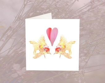 Two Goldfish and a Heart Greeting Card