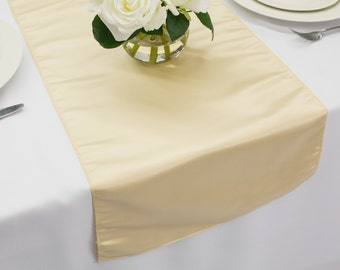 Champagne Table Runner Lamour Satin | Wedding Table Runners