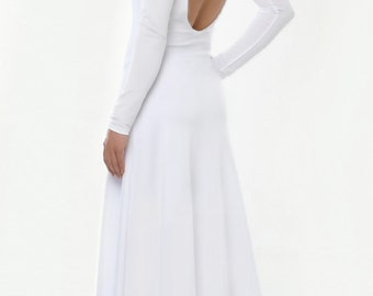White Wedding Maxi Dress Backless Long Sleeves