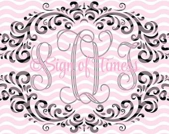 SVG, Monogram Frame SVG,  DFX, Fancy Frame Svg, Damask Frame Svg, Nursery Frame Svg, Frame Svg, Cricut, Silhouette, Cameo, Vinyl, Cut file