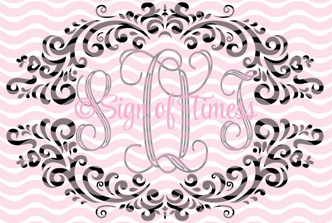 svg monogram frame svg dfx fancy frame svg damask frame