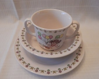 FREE SHIPPING: vintage Lefton China Childs Three Piece Dinner Service