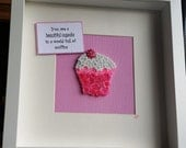 Pink and White Button and Bead Cupcake...You are a beautiful cupcake in a world full of muffins!