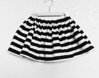 Girls Black and White Striped Skirt