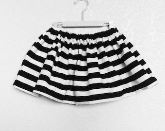 Girls Black and White Striped Skirt