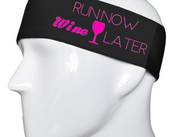 Run Now Wine LaterBlack with Hot Pink lettering Headband