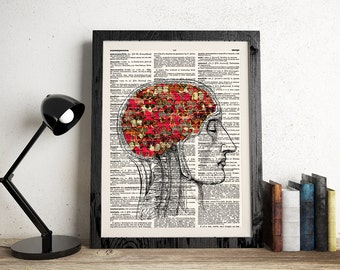 Anatomy Brain Wall Art, Human Brain with Butterflies, Anatomical Print, Dictionary Art, Anatomy Print, Butterflies Art, Anatomy Art, 200
