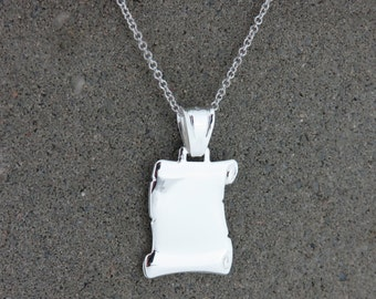 Personalised Silver Scroll Pendant Necklace - Free Engraving