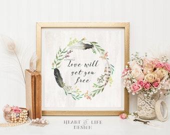 Printable art Square art print Square printable 12x12 art print Love print Love wall art Love quote print Love will set you free Watercolor