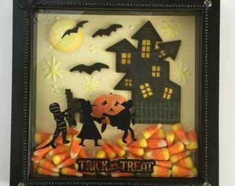 Halloween Trick or Treat Children Shadow Box