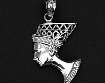 Queen Nefertiti Filigree Sterling Silver Pendant Necklace - Egyptian Egypt Queen Necklace . Queen Nefertiti pendant . Egyptian Queen