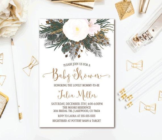 Winter Floral Baby Shower Invitation, Evergreen Rustic Gender Neutral Shower, Printable Invites