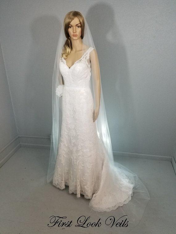 White Wedding Veil, Cathedral Bridal Veil, One Layer Plain Viel, Wedding Vail, Bridal Viel, Bridal Attire, Bridal Accessory, Weddings